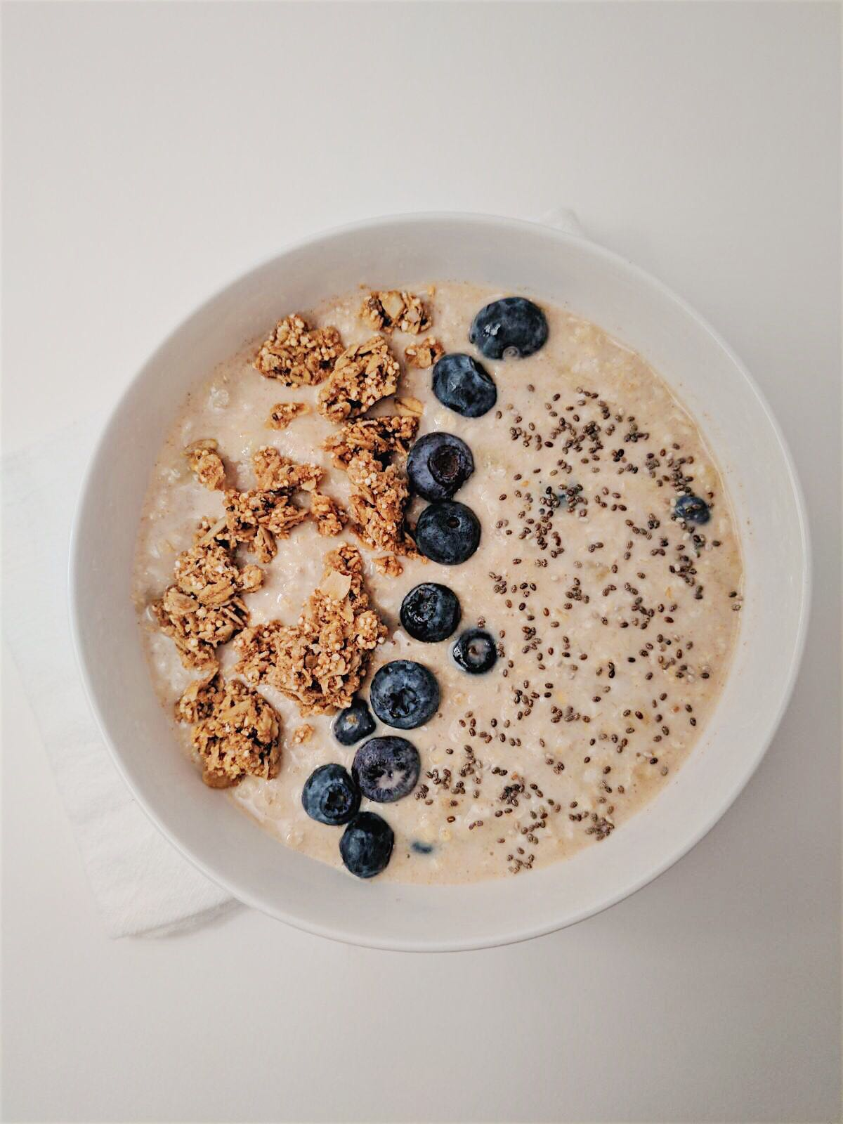 Creamy Blueberry Overnight Oats overhead shot with white background