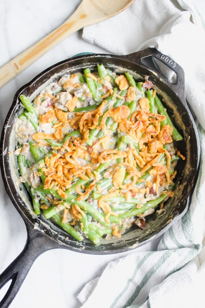 Skillet Green Bean Casserole with Bacon topped with french fried onions
