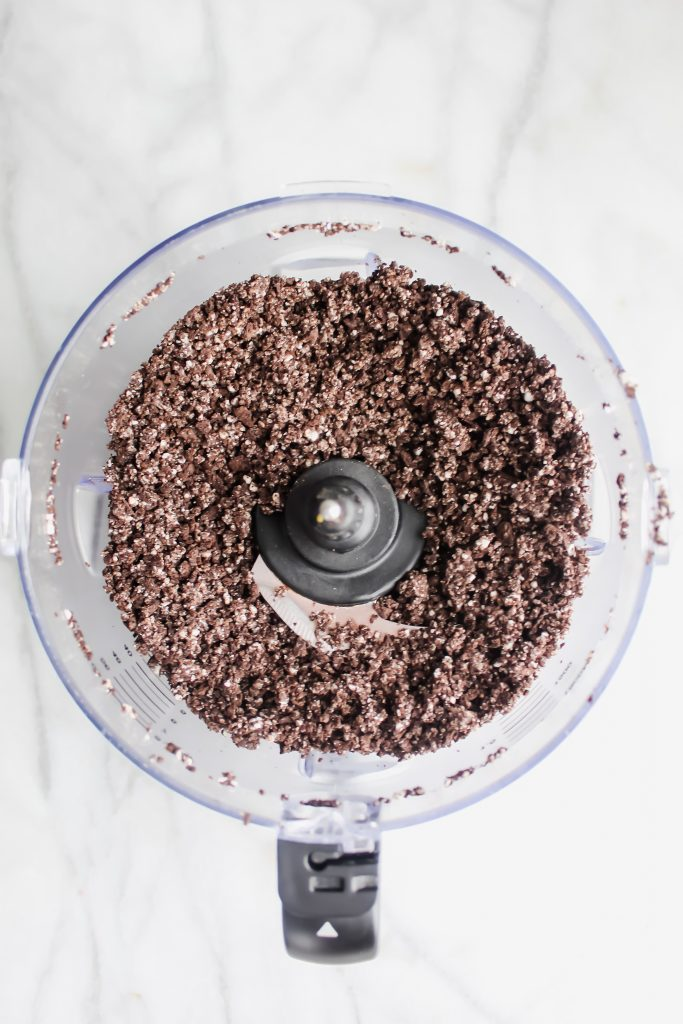 pulsed oreo crumbs in food processor