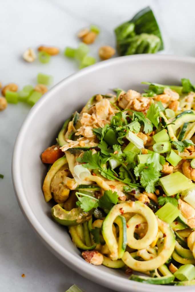 side angle of Healthy Pad Thai with Zucchini Noodles