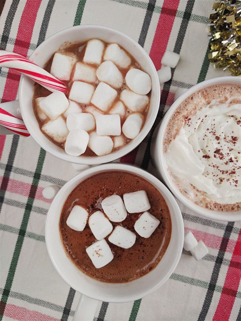 Homemade Hot Chocolate - Three Ways! close up photo with all three drinks