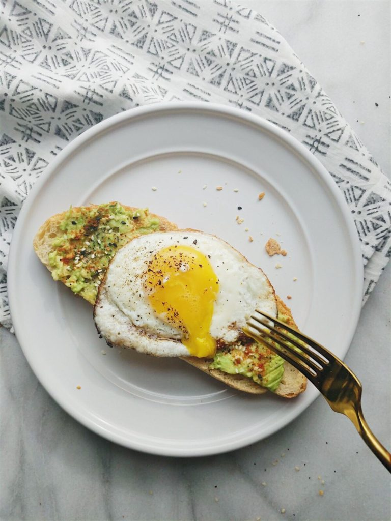 everything but the bagel avocado toast with the yolk dripping