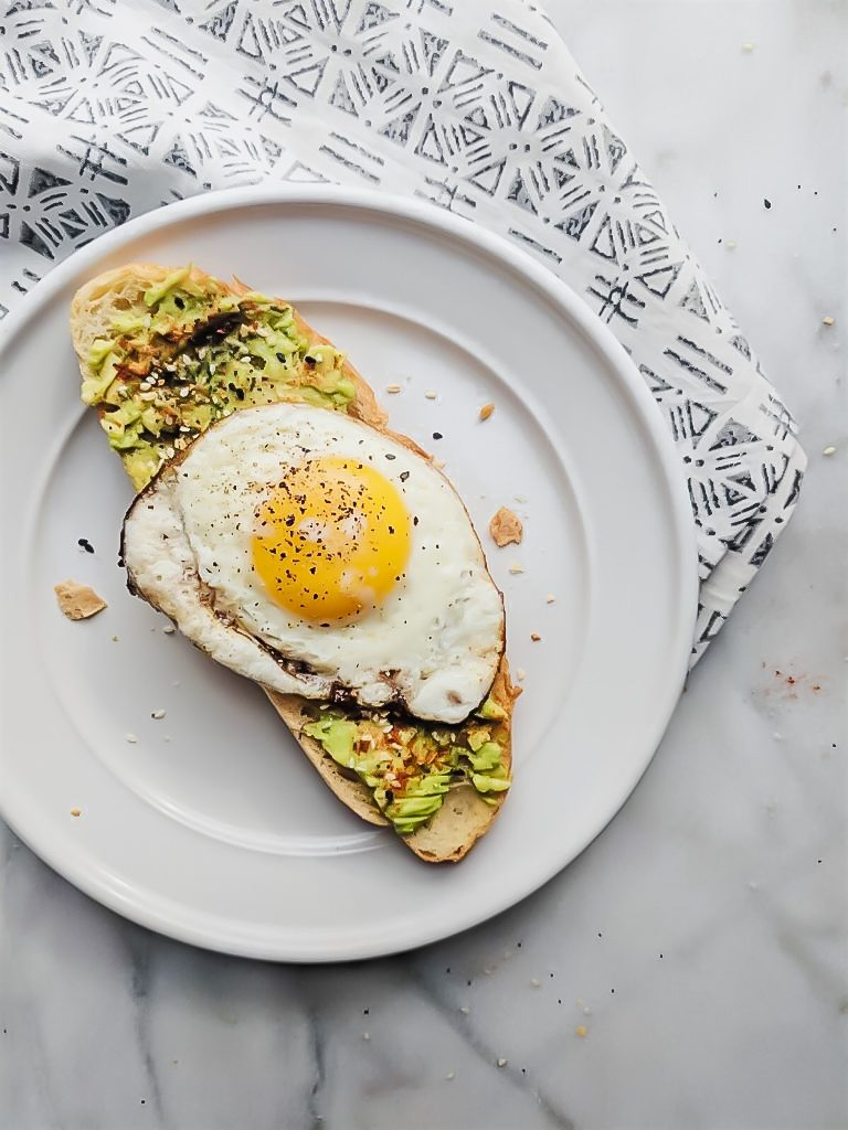 Everything but the Bagel Avocado Toast on a white plate