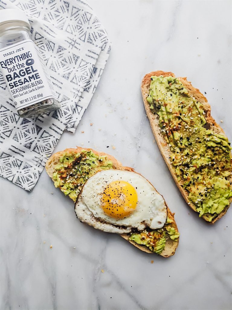Everything but the Bagel Avocado Toast with seasoning bottle in the picture