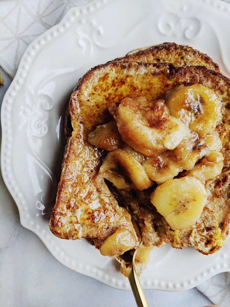Sprouted French Toast with Caramelized Bananas fork in shot