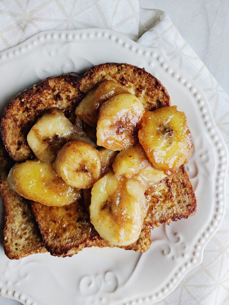 Sprouted French Toast with Caramelized Bananas overhead shot