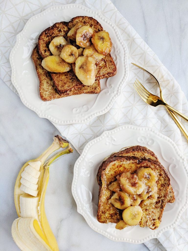 Sprouted French Toast with Caramelized Bananas two plates