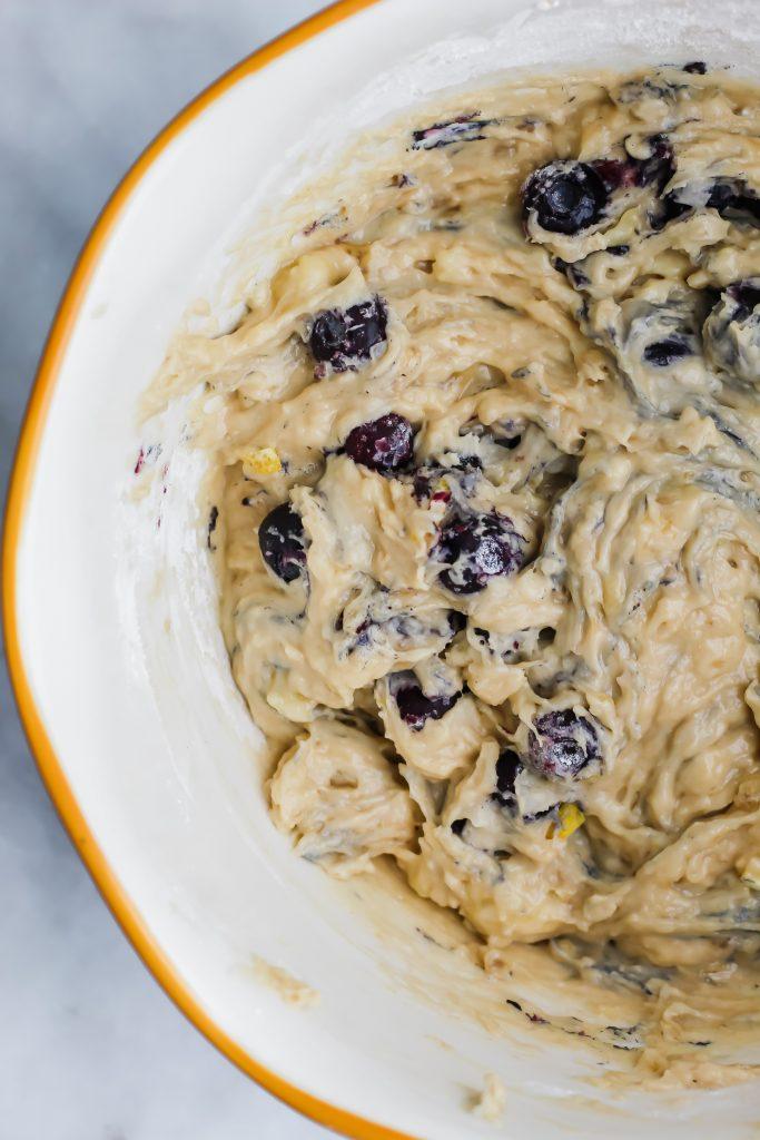bowl of Zesty Lemon Blueberry Banana Bread batter