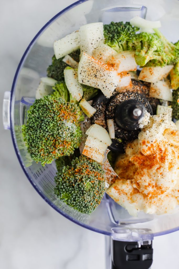 broccoli slaw ingredients in food processor