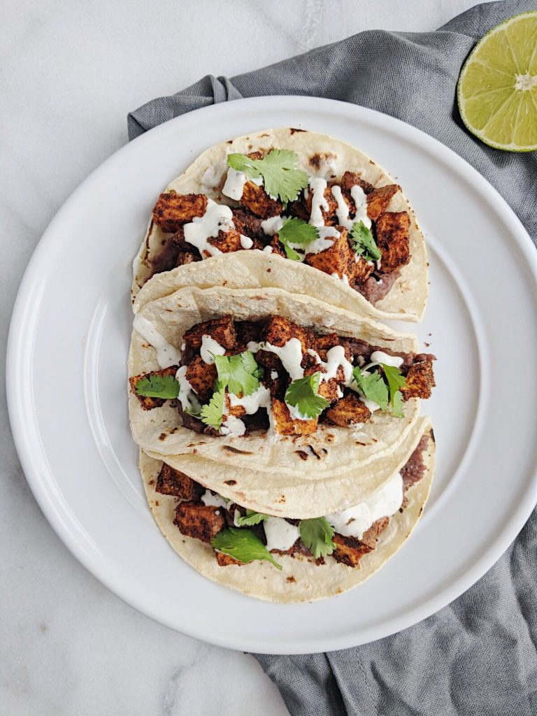 refried sweet potato tacos with lime crema