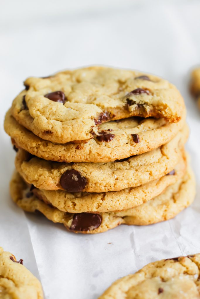 tall stack of chickpea flour chocolate chunk cookies