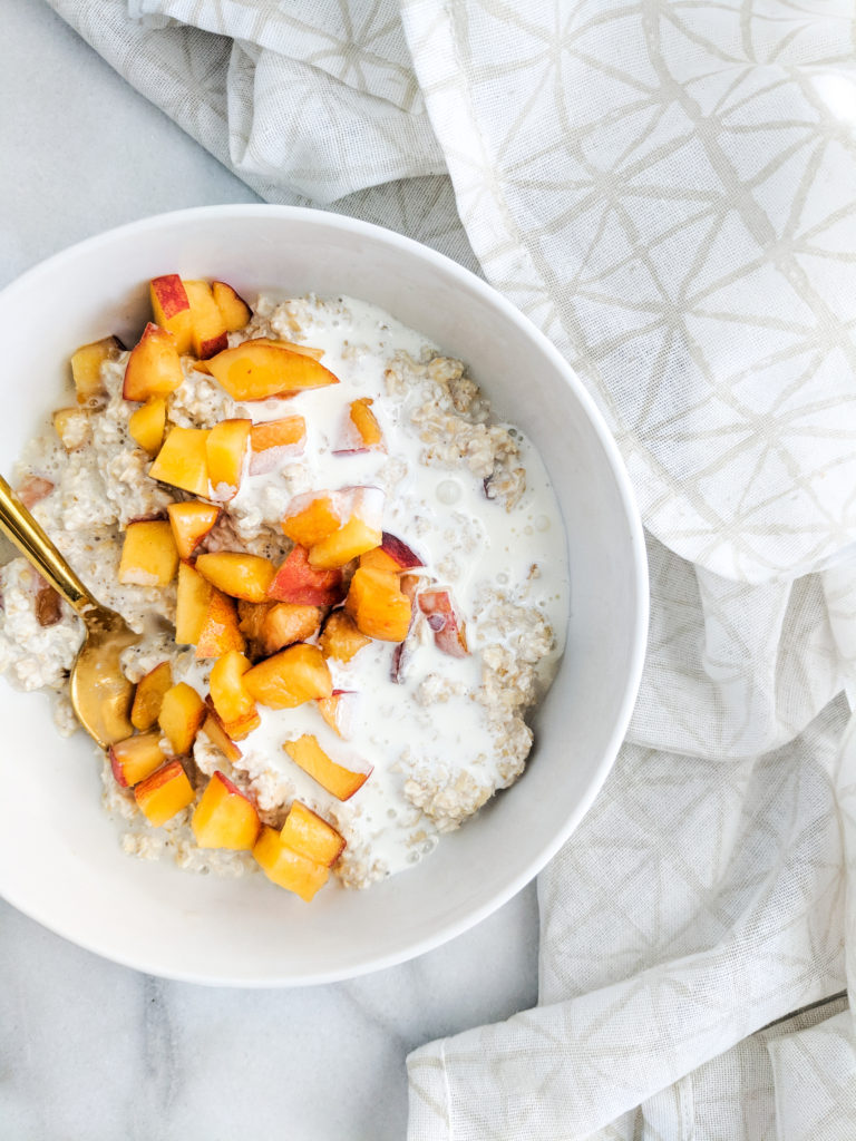 peaches and cream overnight oats close up of heavy cream