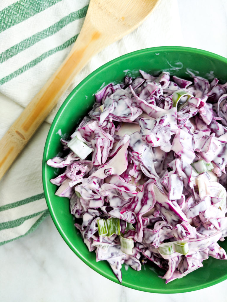 side view of creamy coleslaw