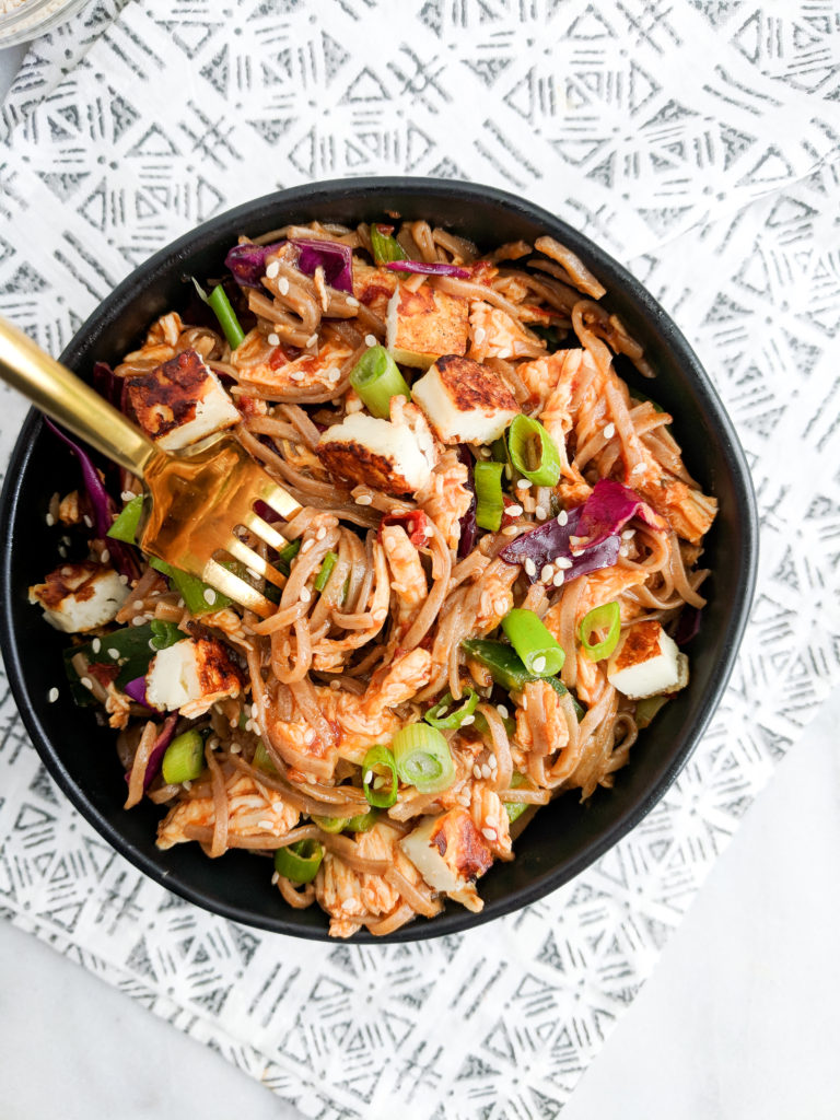 chipotle chicken soba noodle fork twirl