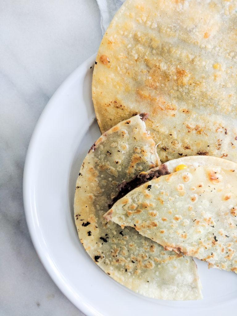 sriracha lime roasted corn quesadillas, plain crispy tortillas