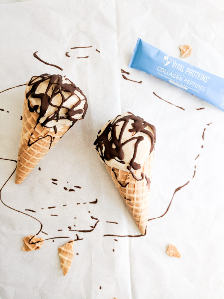 chocolate drizzled peanut butter nice cream with vital proteins packet