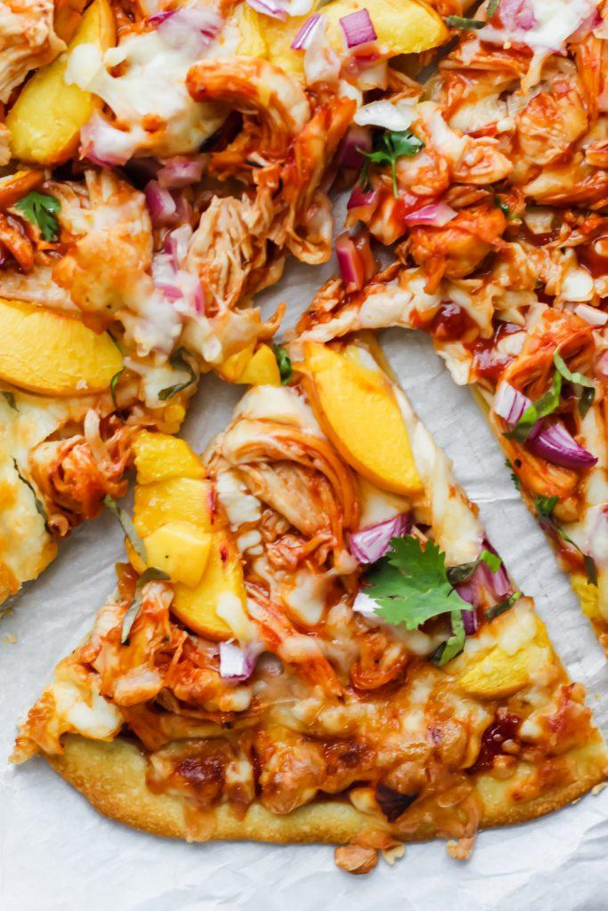 one piece of Peach BBQ Chicken Pizza