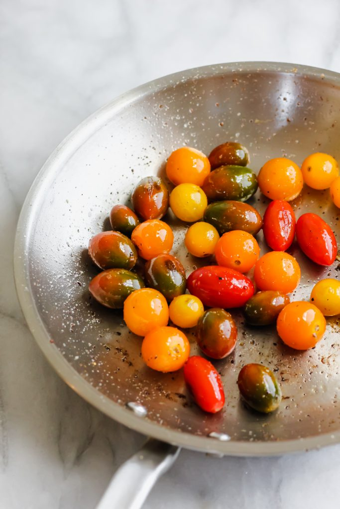 cherry tomatoes in pan