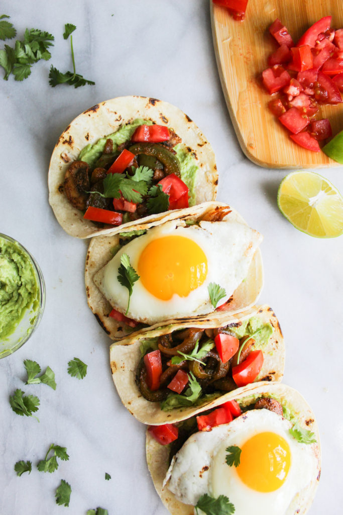 Spicy Breakfast Fajita Tacos with fried eggs