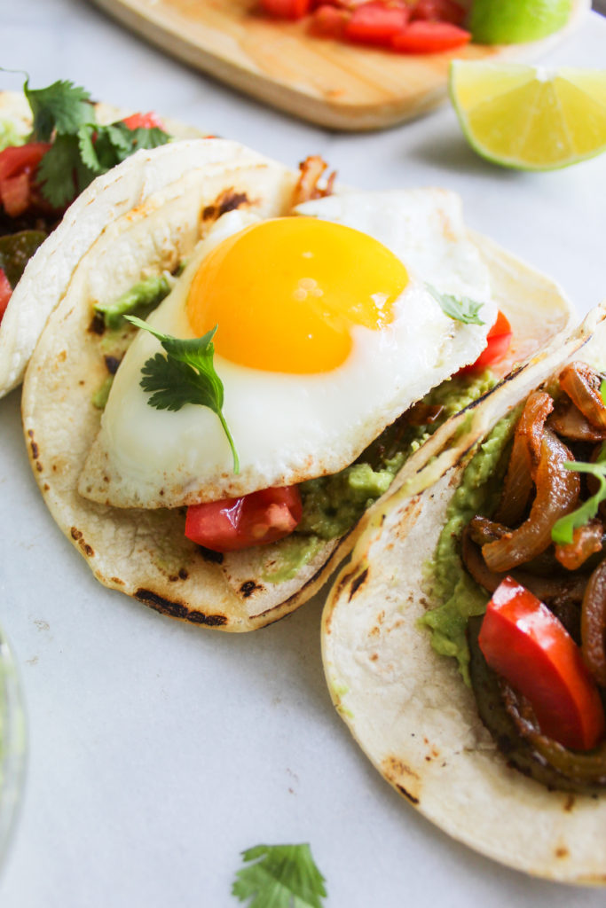 Spicy Breakfast Fajita Tacos close up of the fried egg