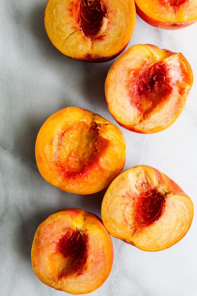 freshly cut peaches