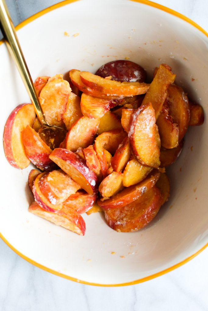 fresh peaches with cornstarch and sugar mixed up