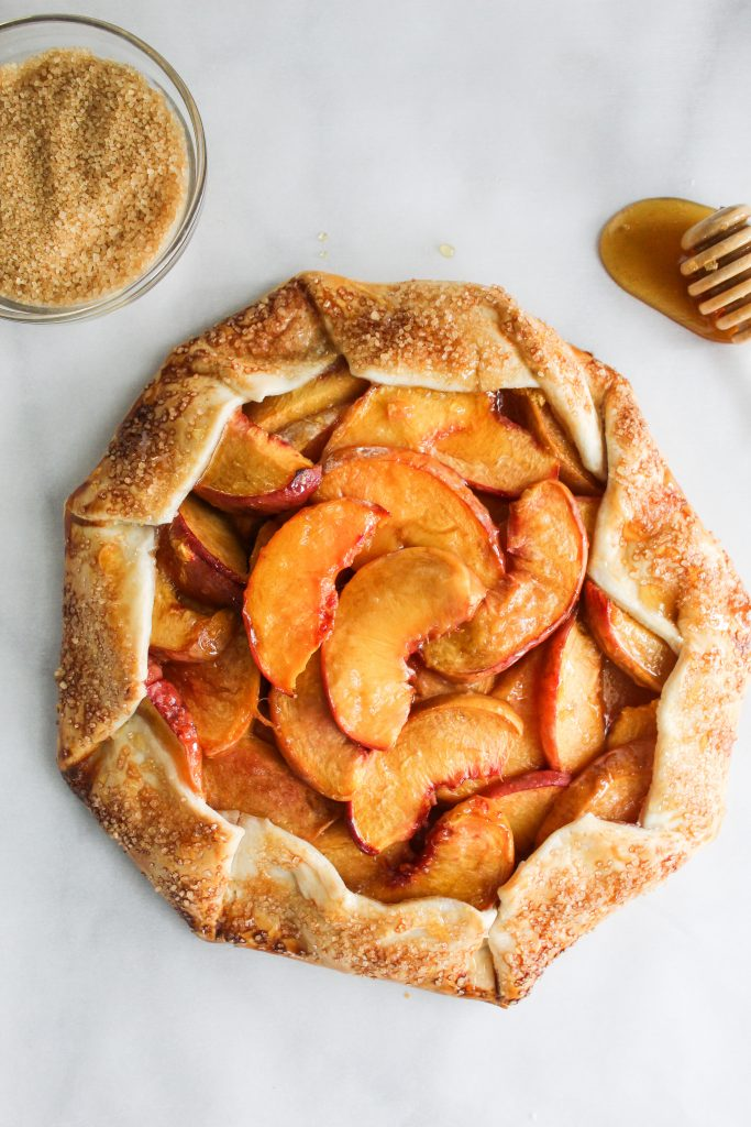 fresh out of the oven Rustic Honey Peach Galette