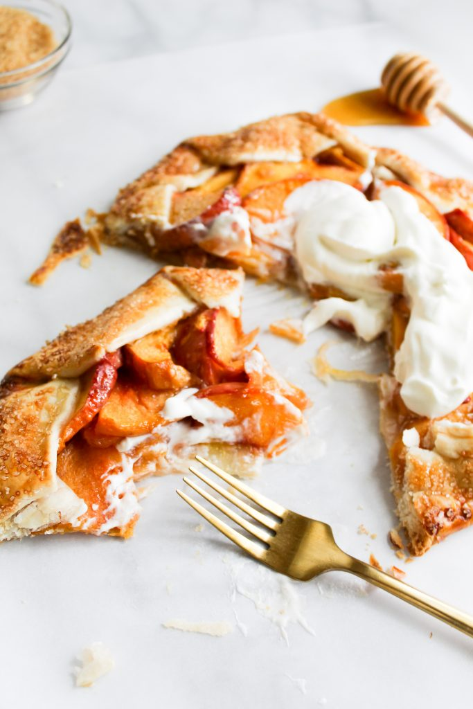 Rustic Honey Peach Galette with gold fork