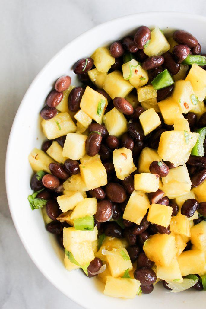 close up of pineapple black bean salsa