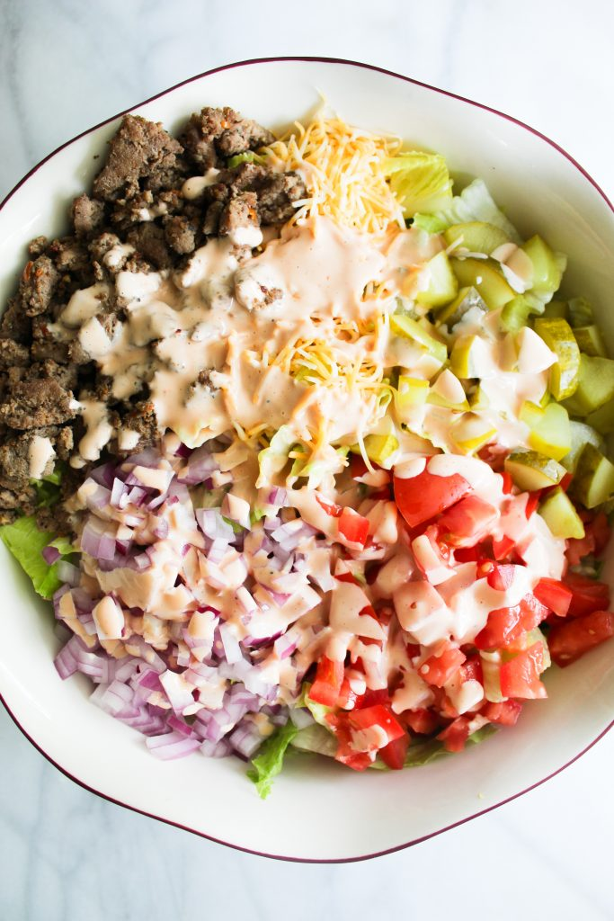 chopped turkey burger salad with thousand island dressing