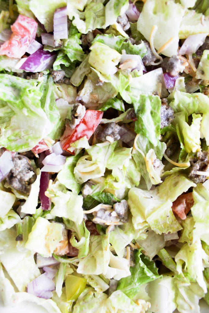 close up of chopped turkey burger salad mixed together