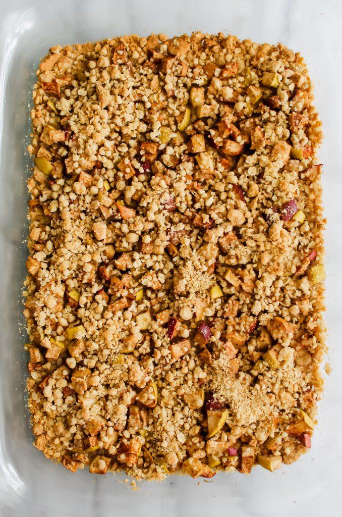 Apple Crumble Bars with Cinnamon Spice Glaze freshly baked