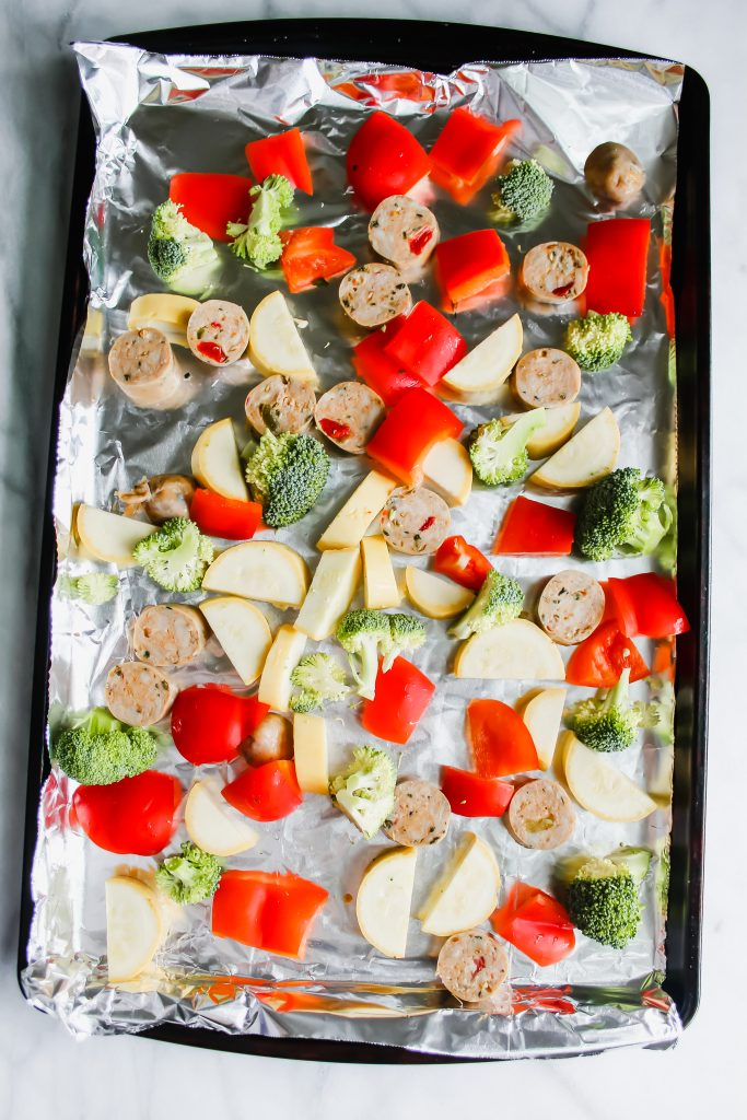 Healthy Sheet Pan Sausage and Veggies pre-bake