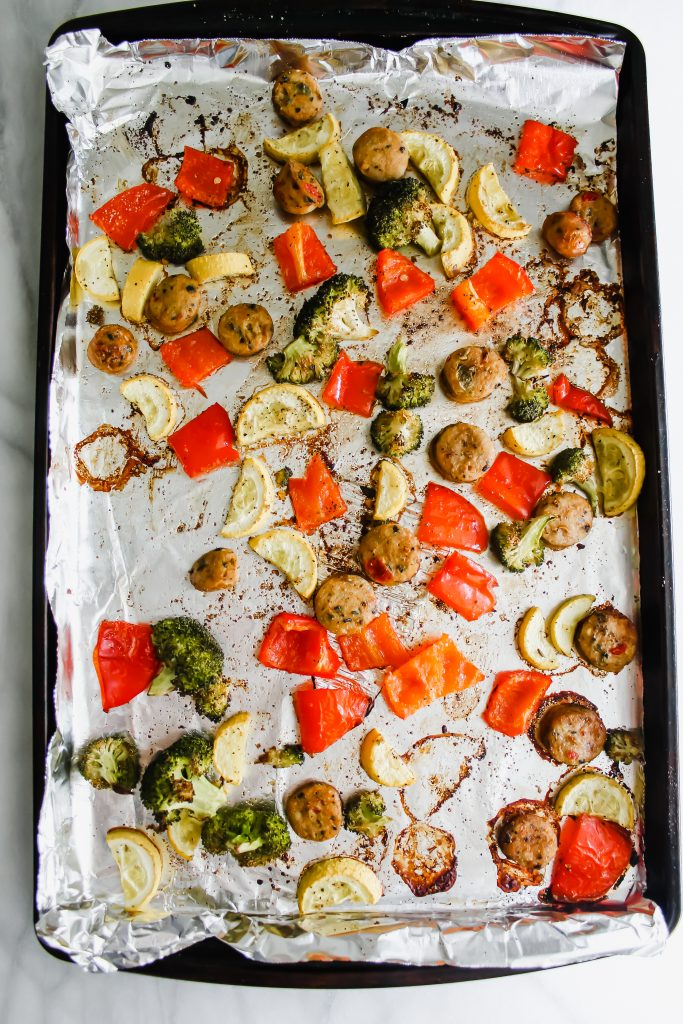 Healthy Sheet Pan Sausage and Veggies post-bake