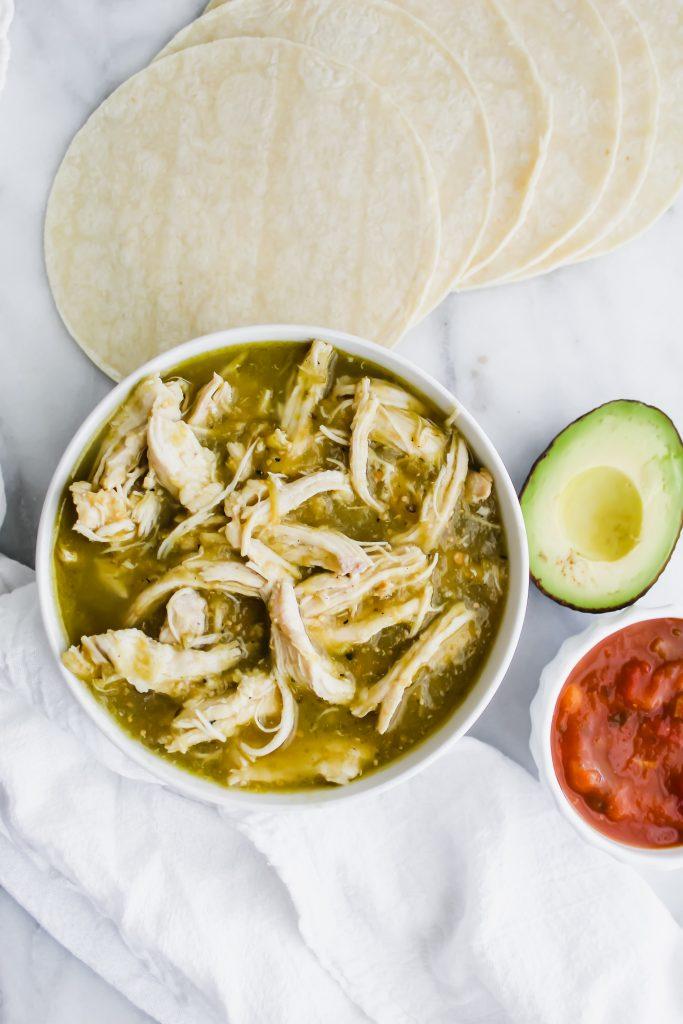 2 ingredient salsa verde chicken with taco ingredients