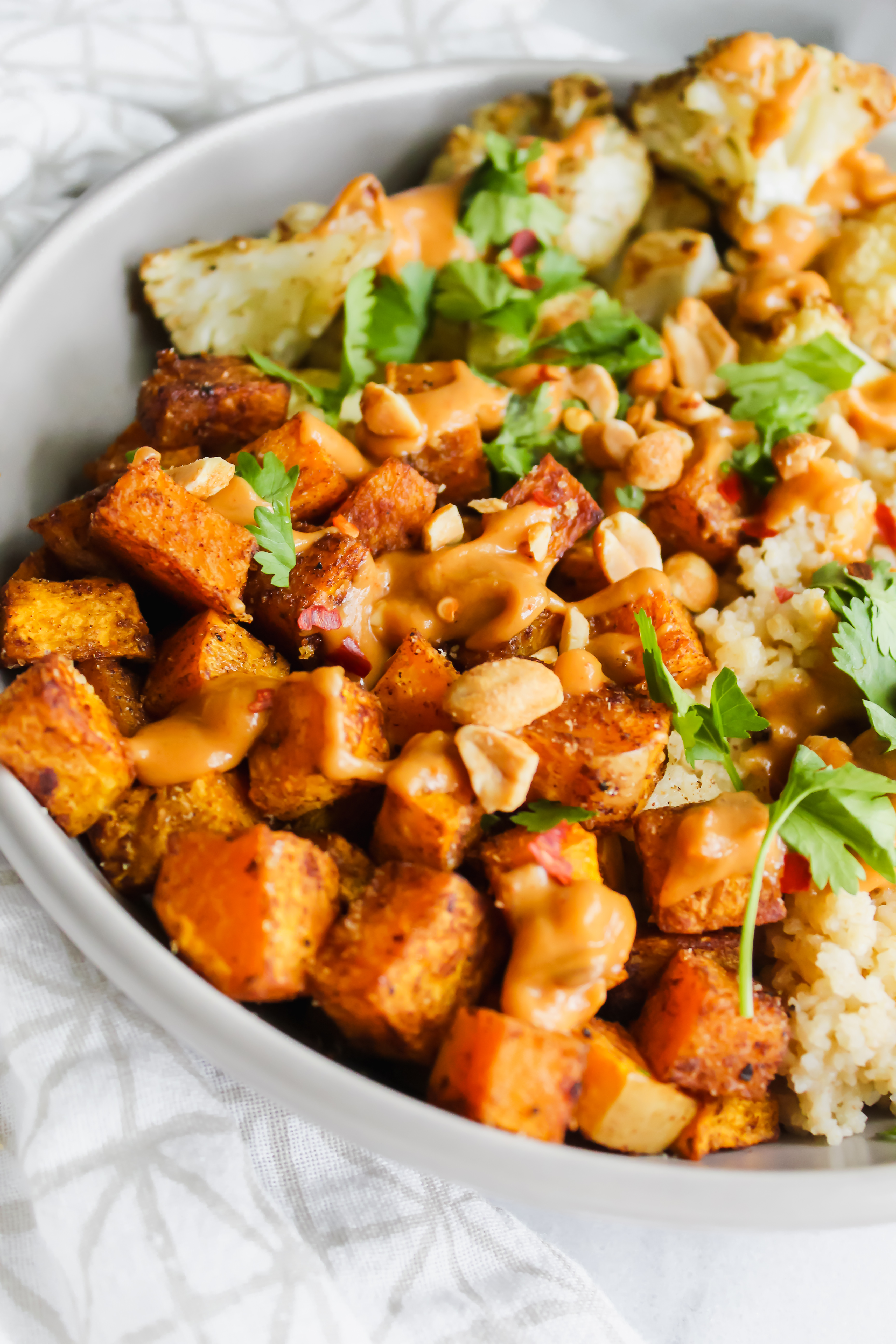 close up of thai spiced butternut squash