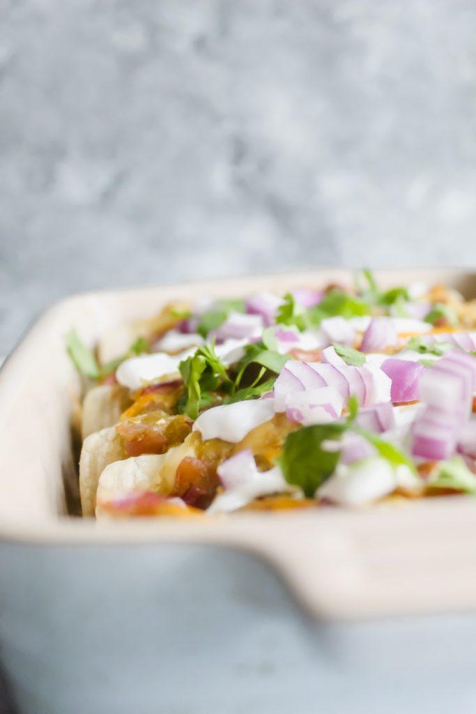 side angle view of Salsa Verde Enchiladas