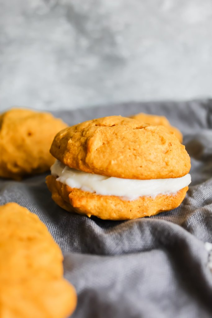 close up of one Pumpkin Spice Whoopie Pie