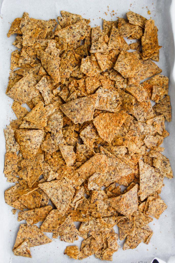 beanfield's bean chips on a baking sheet