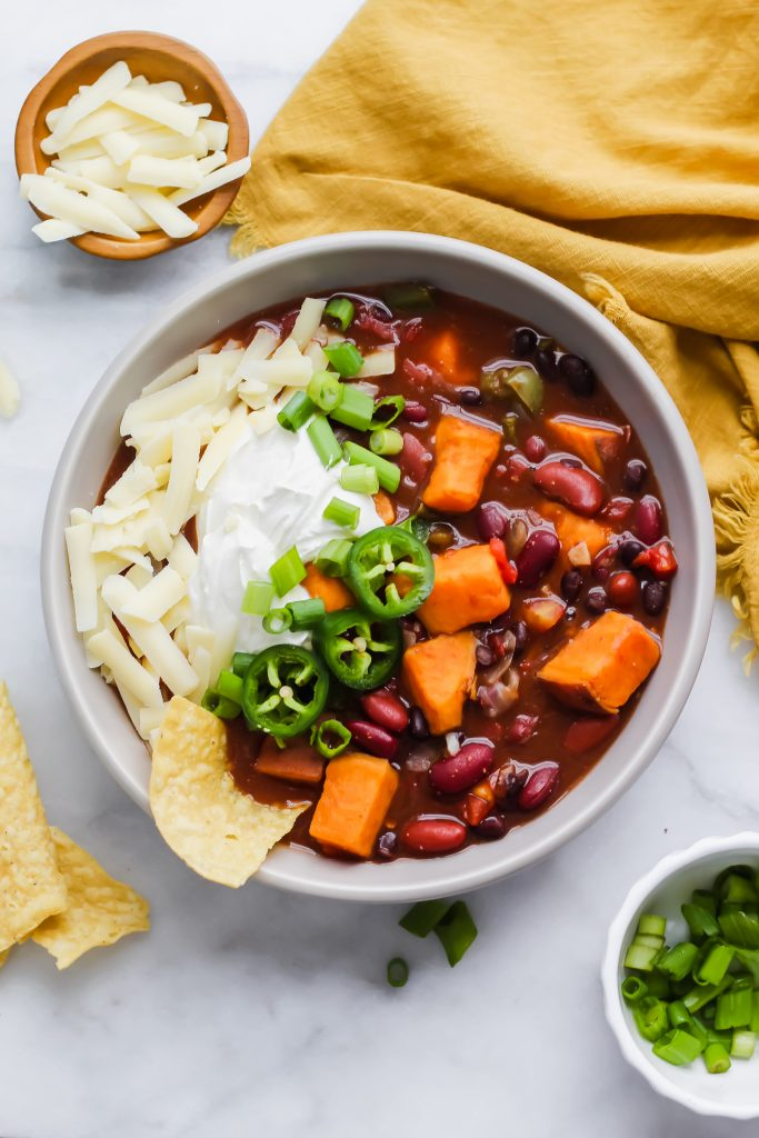 bowl of garnished chili
