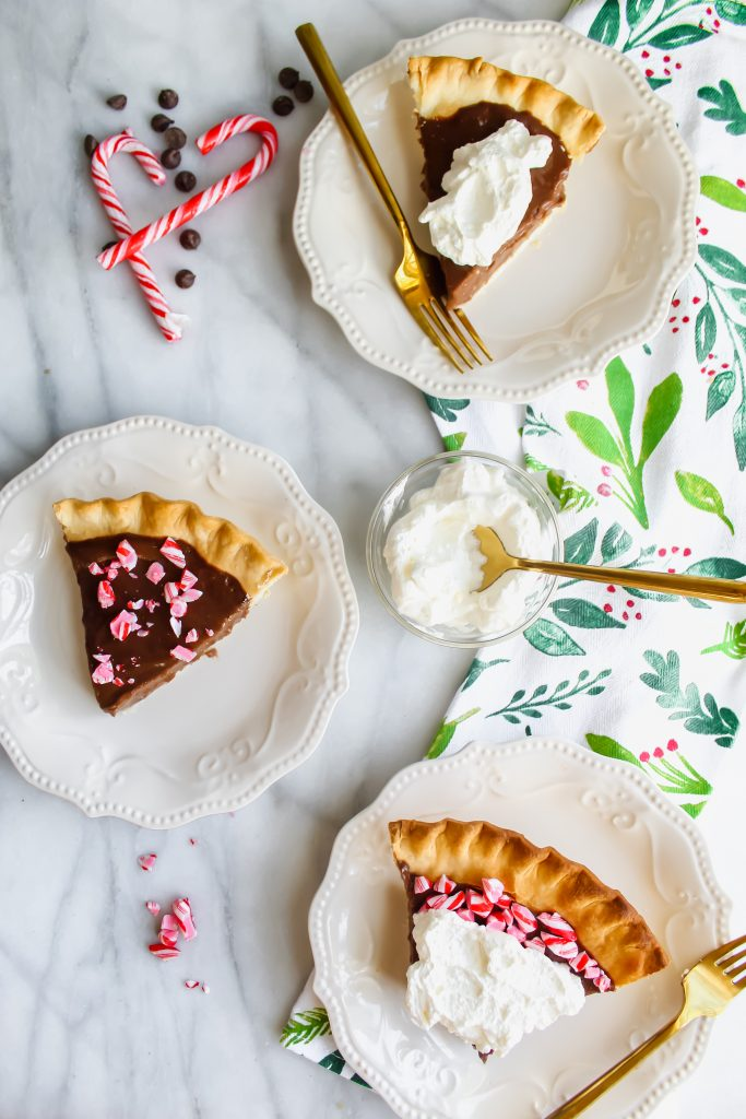 3 slices of Peppermint Mocha Pie decorated differently