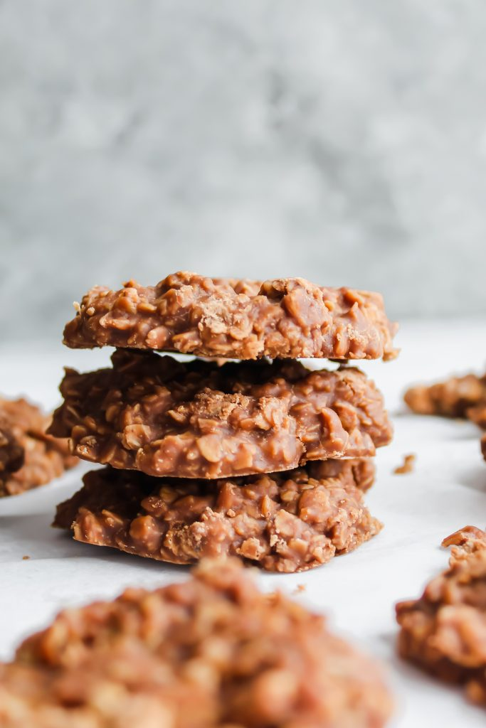 No Bake Cookies in a stack