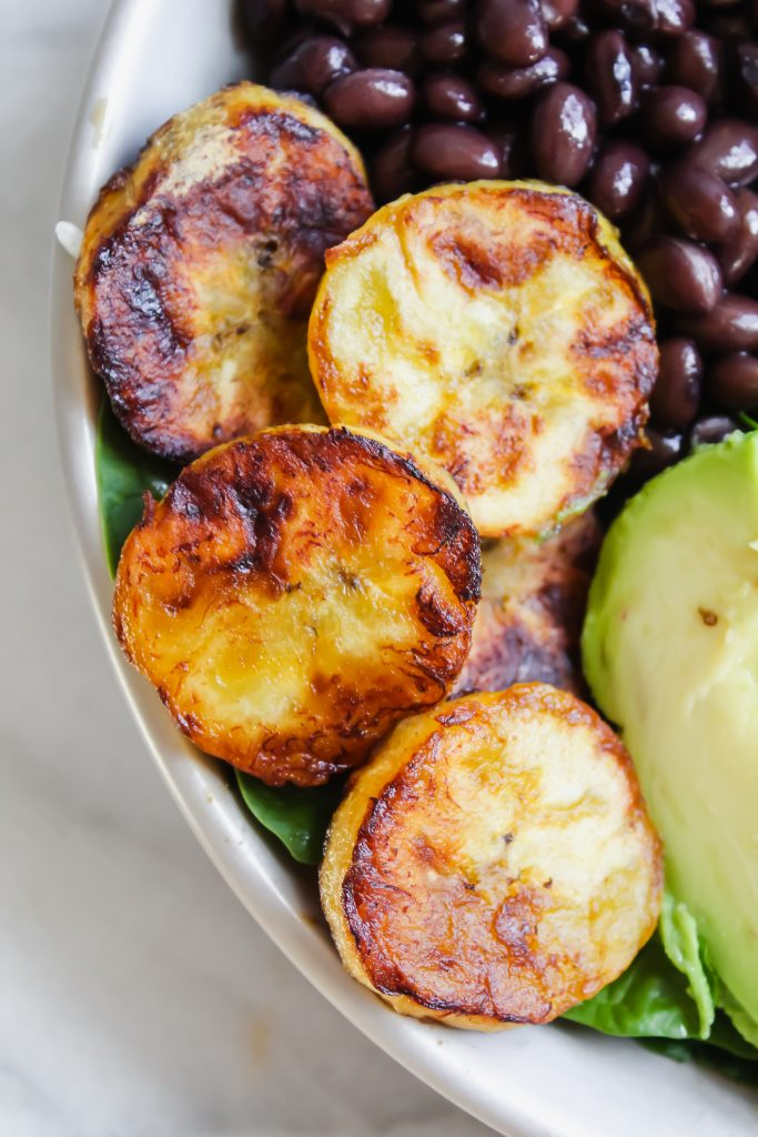 close up of fried plantains