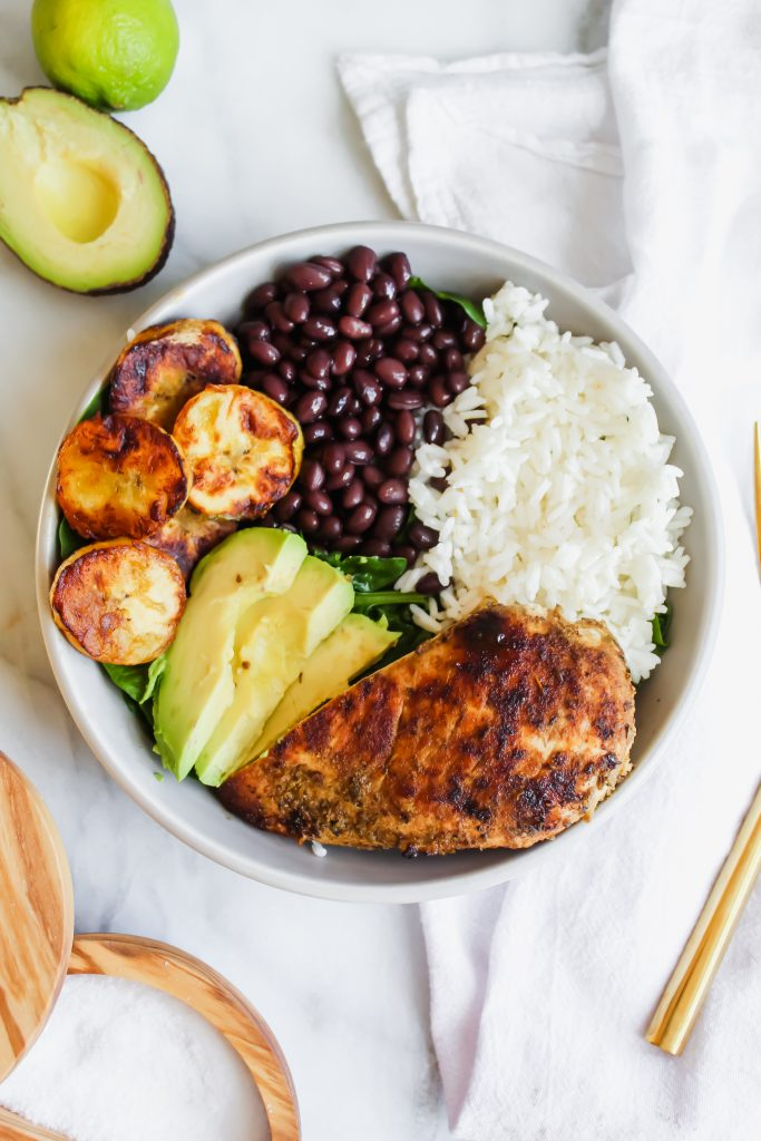 Cuban Chicken and Black Bean Rice Bowls in grey bowl