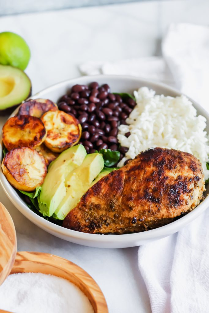 side angle of Cuban Chicken and Black Bean Rice Bowls