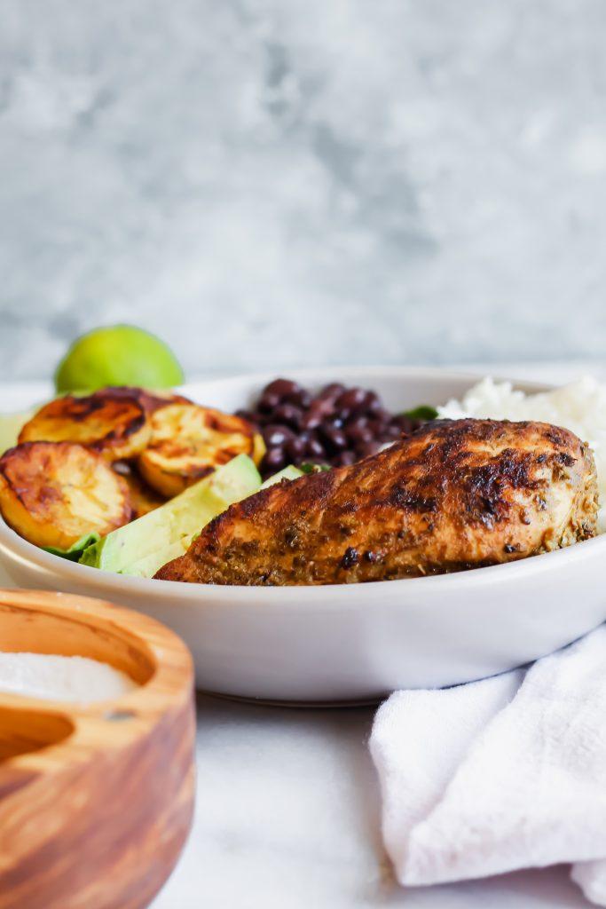 Cuban Chicken and Black Bean Rice Bowls 45 degree angle