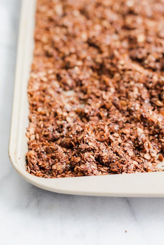 freshly baked Chocolate Coffee Granola on sheet pan
