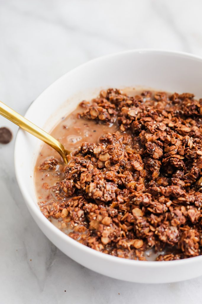 Chocolate Coffee Granola in cereal bowl with milk and gold spoon