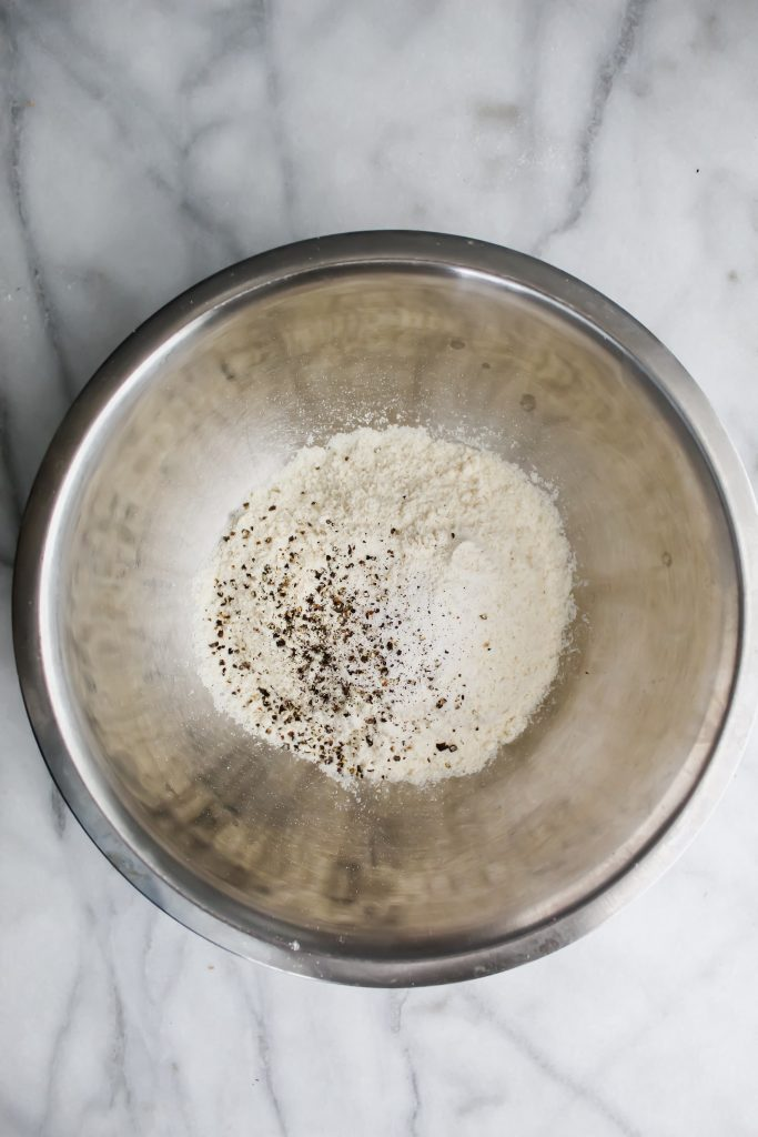 bowl with masa flour, salt, pepper