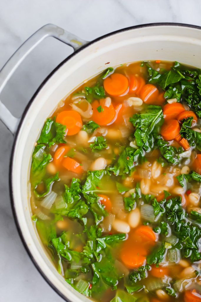 dutch oven full of Tuscan White Bean Soup